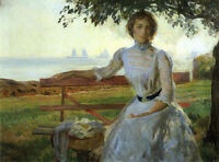 Oil painting joseph rodefer de camp - mrs. ernest major young woman in landscape