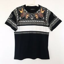 Choies Rottweiler Dog/Stars/Stripe Print Pattern T-Shirt in Black Size Small