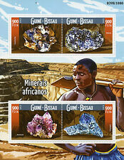 Guinea-Bissau 2015 estampillada sin montar o nunca montada Africano minerales 4v m/s Galena Limpopo Amatista