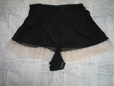 Antique 1940 French Black Silk Tap Shorts Pants Undies Panties Valenciennes Lace