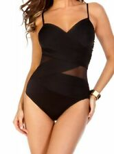 Miraclesuit BLACK Solid Mystify Underwire Bra One Piece Swimsuit, US 14