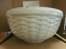 "Longaberger Pottery 9"" Woven Reflections Serving Bowl in Cream (Vintage Vine)"