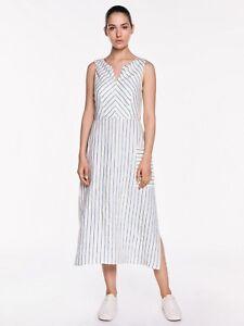 Veronika Maine Linen Stripe Midi Dress Size 14 (Brand New With Tags)