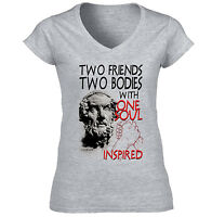 HOMER TWO FRIENDS QUOTE - NEW COTTON GREY LADY TSHIRT