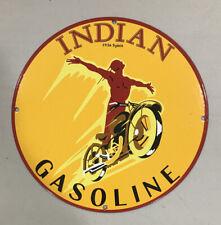 Red Indian 1936 Spirit Motorcycle Gasoline PORCELAIN METAL GASOLINE SIGN