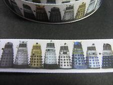 Dalek DR WHO nastro di seta grossa 2,5 cm X 1 Metro Cucito / Halloween / artigianato / TORTA