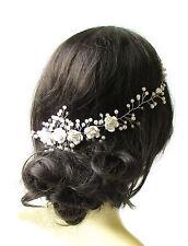 White Ivory Silver Diamante Bridal Hair Vine Comb Headpiece Headband Pearl 1242