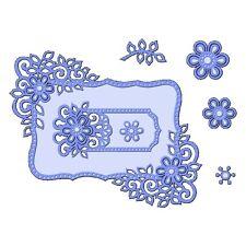Sweet Dixie Fantasía Floral Marcos Die anidación Cardmaking Flores Relieve Rectángulo