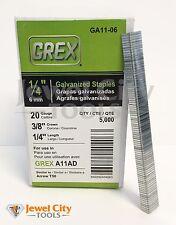 "Grex 20 Gauge Galvanized Staples 3/8"" crown 1/4"" Long - 5M T-50 Rapid 11"