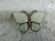 Dinamarca Vintage Esmaltado Blanco Mariposa Broche De Plata Esterlina, Bahner de Volmer