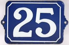 Large old blue French house number 25 door gate plate plaque enamel wall sign