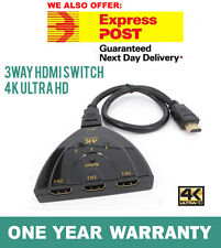 New 4K Ultra HD 3 Way HDMI Switch Splitter HDTV Auto 3 Port IN 1 OUT with Cable