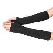 Winter Wrist Arm Hand Warmer Knitted Long Fingerless Gloves Mitten BK A