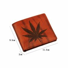Leather Wallet Marijuana Weed Bi-Fold Cannabis Logo Soft PU Leaf Coin Pocket New