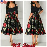 Sexy Womens Cold Shoulder Midi Dress Evening Cocktail Formal Party Swing Dresses