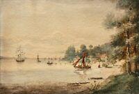 Küstenlandschaft, Bucht mit Segelschiffen, Marine, Aquarell, monogrammiert, 1868