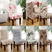 1/4/6pcs Removable Stretch Elastic Slipcovers Dining Room Stool Chair Seat Cover