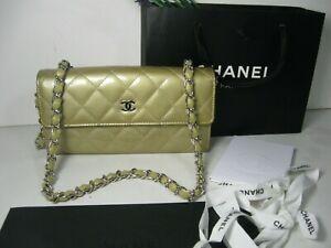 Authentic Chanel Gold Metallic Patent Leather CC Logo Long Flap Clutch Bag