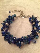 STUNNING HAND CROCHETED BRACELET BLUE TURQUOISE NAVY SILVER BEAD MIX