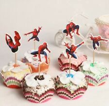 24pcs Spiderman Cake Cupcake Toppers Picks Birthday decoration party loot bag