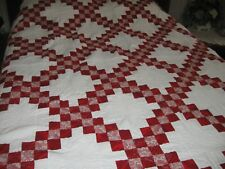 Beautiful Irish Chain Pattern New Red & White–   King/ queen  Quilt