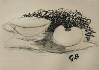 Georges Braque: Naturaleza Muerta En Compota - Grabado Firmada, 1950