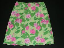 Lilly Pulitzer Women 6 Skirt Mandevilla Scalloped Pocket Pink Green Floral HTF