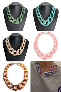 Chunky link beads Resin necklace Beaded collar pendant Necklace ladies fashion