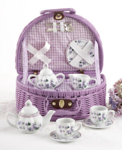 Delton Children's Porcelain Tea Set for 2 in Wicker Basket VIOLETS 8095-7