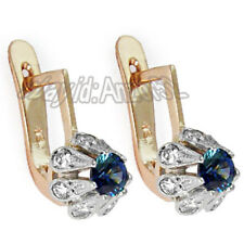 Russian vintage style 585 Sapphire and Diamond Earrings 14K Gold