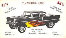 Everett Ontario~QSL w/1955 Chevy Bel-Air~Flame Decals~Clear Hood Scoop~Postcard
