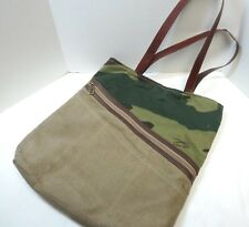 f8882aaef5b7 Mona B Recycled Canvas   Leather Tote Bag Outside Zipper Many Pockets  Camouflage