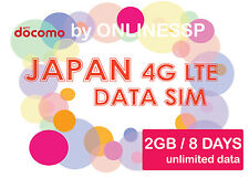JAPAN DATA SIM UNLIMITED DATA 4G LTE 2GB 8 DAYS PREPAID SIM NTT DOCOMO UMOBILE