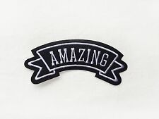 1x Amazing name Tag PATCH Iron On Embroidered Patches Applique banner streamer