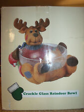 Festive Large REINDEER CHRISTMAS HOLIDAY Crackle Glass  Serving Bowl Candy Dish