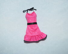 HOT PINK w/ Silver Glitter & Black Accents Genuine BARBIE Sleeveless Party Dress