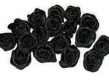 100 rose flower ribbon satin appliques trim lot black S