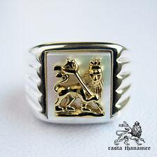 ORIGINAL RASTA THANAMEE GOLD LION PEARL .925 STERLING SILVER RING SZ 9