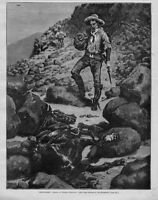 FREDERIC REMINGTON ABANDONED HORSE SOUTHWEST SOLDIERS ANTIQUE ENGRAVING
