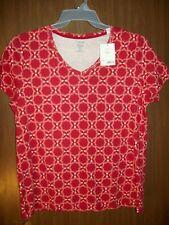 Women's Croft & Barrow Classic V-neck Tee Shirt Top Sz 2xl Red Dot XXL