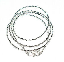 """Silver Pyrite Gemstone 2 mm Round 925 Sterling Silver 12-40"""" Strand Necklaces SD"""
