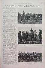 1902 PRINT ~ GERMAN ARMY MANOEUVRES ROYAL FIELD-MARSHAL KAISER CHARGE UHLAN