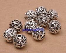 10pcs Tibetan Silver Charm Flowers Hollow Bead Spacer Beads 12mm Jewelry C3068