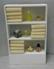 Dollhouse Miniature Handcrafted Bath Shelf  Yellow Towels Assorted Jars 1:12
