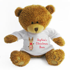 Personalised Christmas Teddy Bear - Soft Toy Large / Stocking Filler / Reindeer