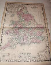 1861 LARGE RARE JOHNSON ORIGINAL ANTIQUE ATLAS MAP England Wales
