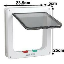 New 4 Way Lockable Locking Pet / Cat / Small Dog Flap Door in White Size L Large
