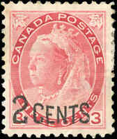 Canada Mint H F-VF Scott #88 1899 2c-on-3c Provisional Stamp