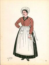 Gravure d'Emile Gallois costume des provinces françaises 1950 Maine
