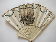 EVENTAIL DE POUPEE DOLL FAN PAPIER PIENT MAIN ET OS DECOR SCENE ENFANTINE 19E S.